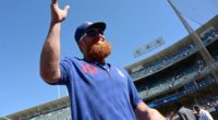 Los Angeles Dodgers third baseman Justin Turner waves to fans at Dodger Stadium