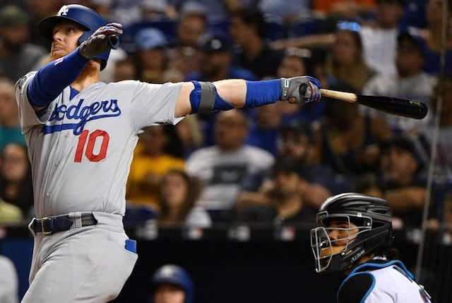 Los Angeles Dodgers third baseman Justin Turner hits a home run against the Miami Marlins
