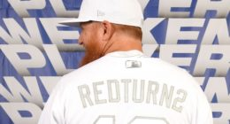 Los Angeles Dodgers third baseman Justin Turner displays his 2019 Players Weekend jersey