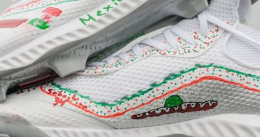 Adidas cleats that were designed by a Little League team to be worn by Los Angeles Dodgers third baseman Justin Turner during 2019 MLB Players Weekend