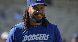 Los Angeles Dodgers closer Kenley Jansen during batting practice at Dodger Stadium