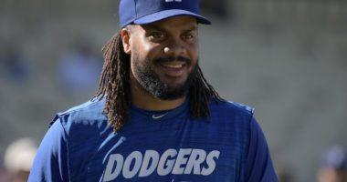 Los Angeles Dodgers closer Kenley Jansen during batting practice at Dodger Stadium