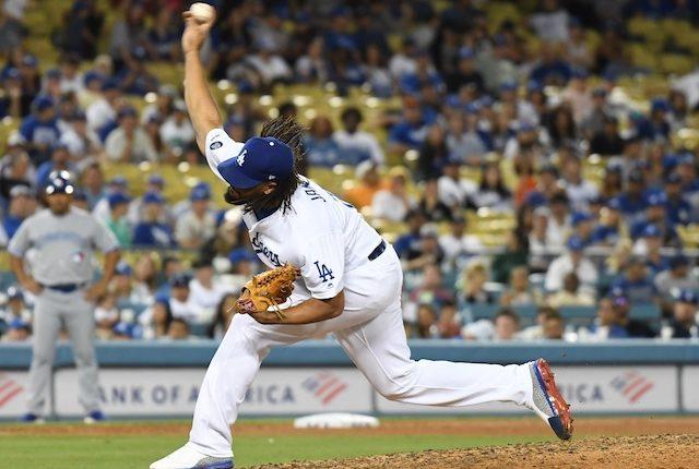 Los Angeles Dodgers closer Kenley Jansen against the Toronto Blue Jays