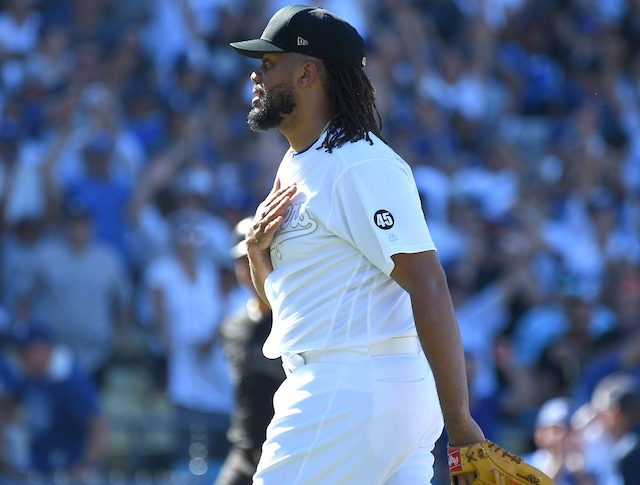 Los Angeles Dodges closer Kenley Jansen celebrates after a win against the New York Yankees