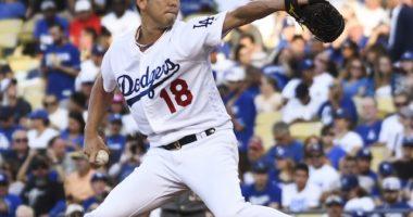 Los Angeles Dodgers pitcher Kenta Maeda against the Arizona Diamondbacks