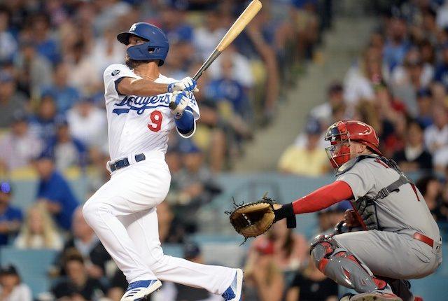 Los Angeles Dodgers utility man Kristopher Negrón hits an RBI single