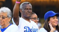 Los Angeles Dodgers honor Manny Mota during an pregame ceremony at Dodger Stadium