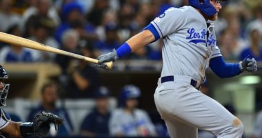Los Angeles Dodgers outfielder Matt Beaty hits a single against the San Diego Padres
