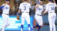 Matt Beaty, Kiké Hernandez, A.J. Pollock and Chris Taylor celebrate after a Los Angeles Dodgers win