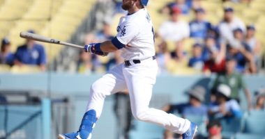 Los Angeles Dodgers infielder Max Muncy hits a walk-off two-run double