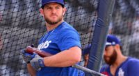 Los Angeles Doders teammates Russell Martin and Max Muncy during batting practice at Petco Park