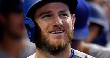 Los Angeles Dodgers infielder Max Muncy in the dugout at Marlins Park