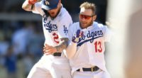 Max Muncy and Alex Verdugo celebrate a Los Angeles Dodgers walk-off win