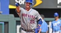 New York Mets first baseman Pete Alonso reacts after breaking Cody Bellinger's National League rookie home run record