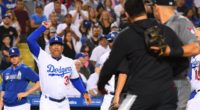 Los Angeles Dodgers manager Dave Roberts yells at Arizona Diamondbacks starter Robbie Ray during a benches-clearing incident