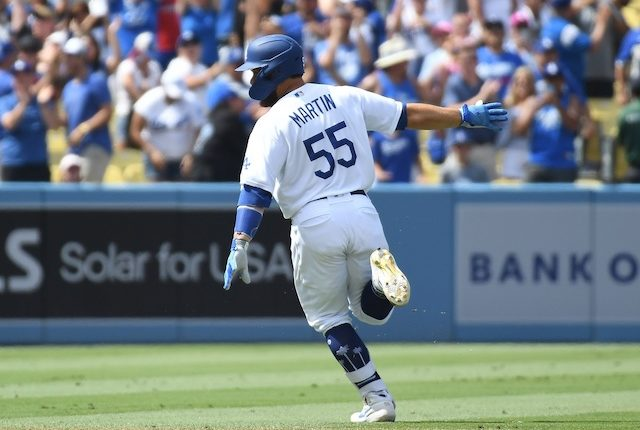 Los Angeles Dodgers catcher Russell Martin celebrates after a walk-off hit