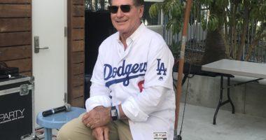 Los Angeles Dodgers legend Steve Garvey makes an appearance at Dodger Stadium