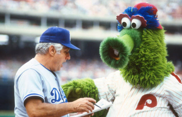 This Day In Dodgers History: Tommy Lasorda Gets Into Fight With Phillie Phanatic Mascot