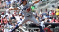 Los Angeles Dodgers pitcher Tony Gonsolin against the Atlanta Braves