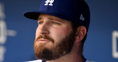 Los Angeles Dodgers first baseman Tyler White in the dugout