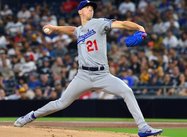 Los Angeles Dodgers pitcher Walker Buehler against the San Diego Padres