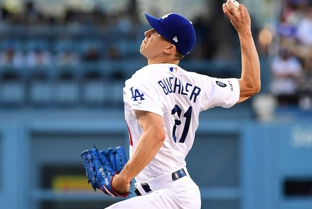 Los Angeles Dodgers pitcher Walker Buehler in a start against the San Diego Padres