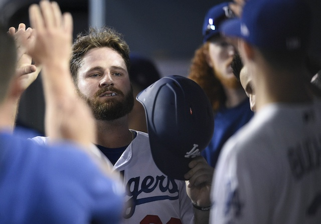 Los Angeles Dodgers first baseman Tyler White is congratulated in the dugout