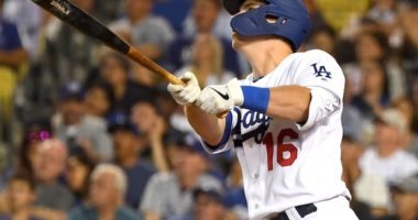 Los Angeles Dodgers catcher Will Smith hits a grand slam against the San Diego Padres