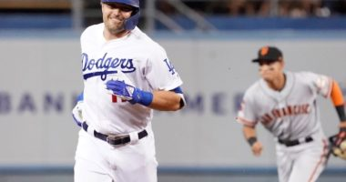 Los Angeles Dodgers outfielder A.J. Pollock rounds the bases after hitting a home run against the San Francisco Giants