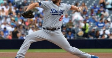 Los Angeles Dodgers pitcher Clayton Kershaw against the San Diego Padres