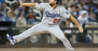 Los Angeles Dodgers pitcher Clayton Kershaw against the New York Mets