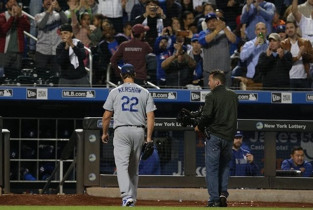 Los Angeles Dodgers pitcher Clayton Kershaw walks to the dugout at Citi Field