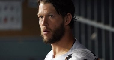 Los Angeles Dodgers pitcher Clayton Kershaw in the dugout