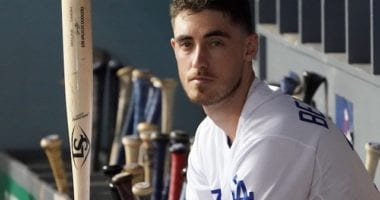 Los Angeles Dodgers All-Star Cody Bellinger in the dugout at Dodger Stadium