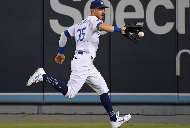 Los Angeles Dodgers All-Star Cody Bellinger cuts off a ball in the outfield