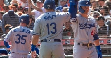 Los Angeles Dodgers teammates Cody Bellinger, Gavin Lux and Max Muncy celebrate during a game against the San Francisco Giants