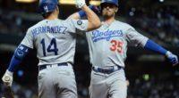 Los Angeles Dodgers teammates Cody Bellinger and Kiké Hernandez celebrate after a home run