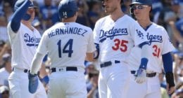 Los Angeles Dodgers teammates Cody Bellinger, Kiké Hernandez, Gavin Lux and Joc Pederson celebrate after a grand slam