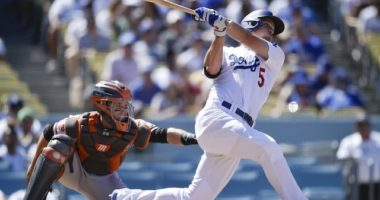 Los Angeles Dodgers shortstop Corey Seager hits a home run