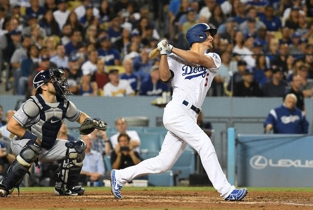 Los Angeles Dodgers shortstop Corey Seager hits a double against the Tampa Bay Rays
