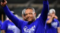 Los Angeles Dodgers manager Dave Roberts celebrates after clinching the NL West during the 2019 season