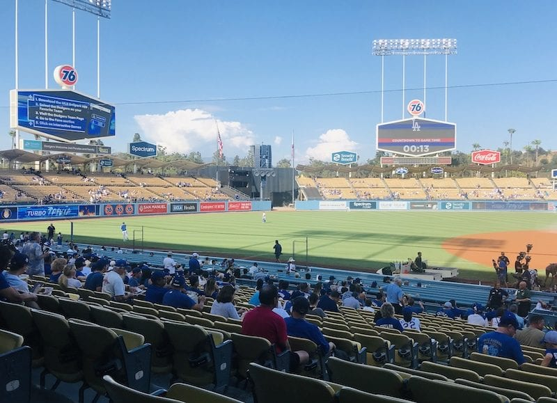 General view of the extended netting down the third-base line at Dodger Stadium
