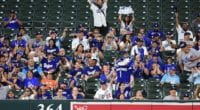 Los Angeles Dodgers fans cheer during a game at Oriole Park at Camden Yards