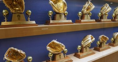 View of Gold Glove Awards that have been won by Los Angeles Dodgers players
