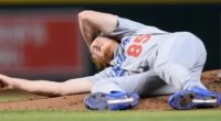 Los Angeles Dodgers pitcher Dustin May hit in the head by a line drive
