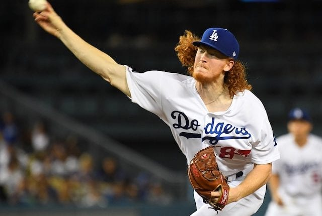 Los Angeles Dodgers pitcher Dustin May against the Tampa Bay Rays