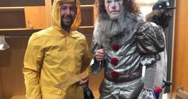 """Los Angeles Dodgers teammates Dylan Floro and Dustin May dress as characters from the movie """"It."""""""