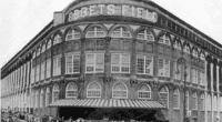 General view of the Ebbets Field entrance, which was home to the Brooklyn Dodgers