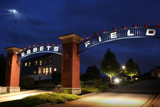 View of the entrance to the Ebbets Field development in Illinois by new Los Angeles Dodgers owner Robert L. Plummer