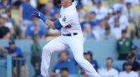 Los Angeles Dodgers infielder Gavin Lux hits a single in his MLB debut
